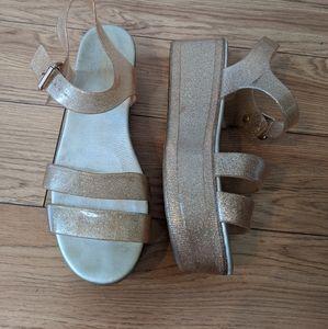Aldo - platform wedge jelly glitter plastic heel shoes